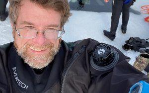 Selfie of Advisory Board Member, Derrick Edwards, in scuba diving gear.